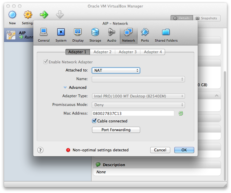 The Virtualbox network interface menu